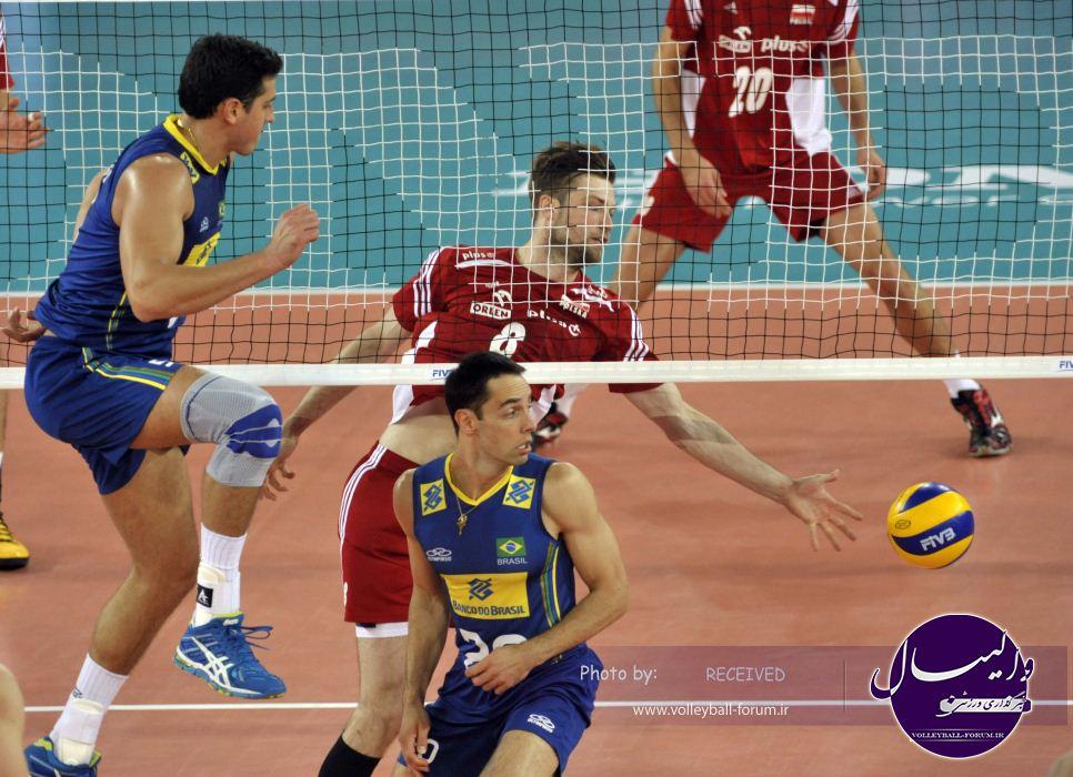 لیگ جهانی والیبال ۲۰۱۴ / شکست لهستان برابر برزیل و حفظ جایگاه ایران در رده دوم