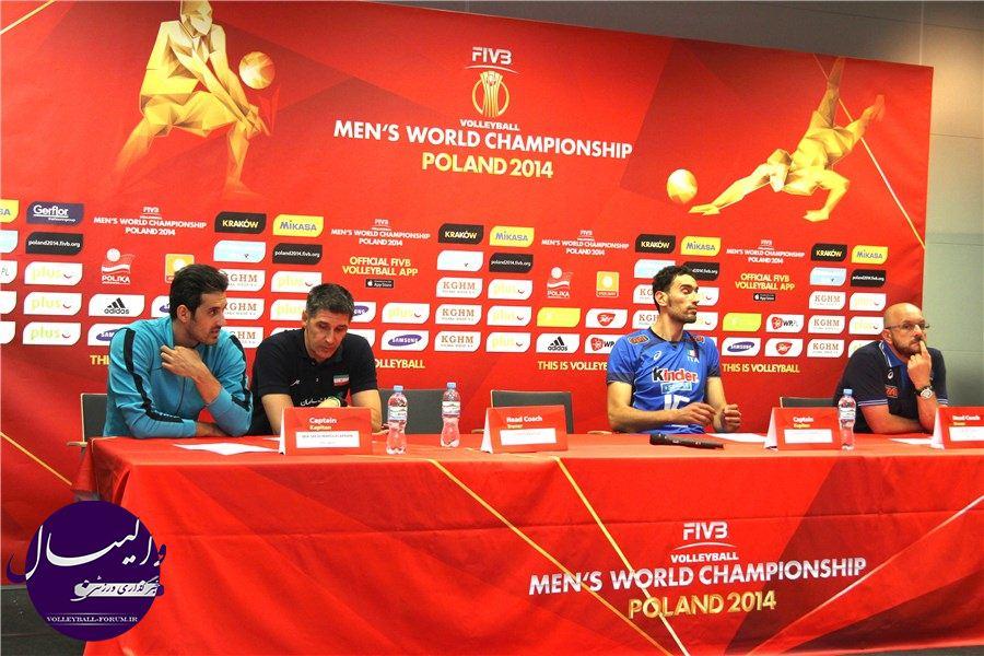 کنفرانس خبری مربیان و بازیکنان پس از پایان دیدار دو تیم ایران و ایتالیا !